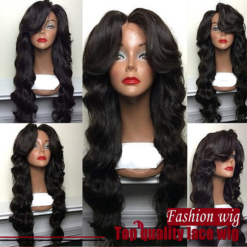 middle part wig Synthetic Hair Heat Resistant body wave hair Lace Wigs With Bangs Cosplay lace front Wigs cosplay natural wig<br><br>Aliexpress