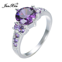 Round Purple White Gold Filled Ring Lady's 10KT Finger Rings For Women 2017 Fashion Jewelry Size 6/7/8/9/10 RW0196