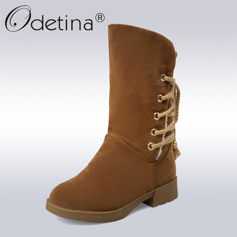Odetina 2017 Winter Fashion Women Lace Up Snow Boots Thick Fur Chunky Heel Round Toe Mid Calf Boots Keep Warm Shoes Plus Size 43<br>