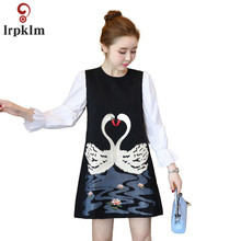 M-XXL 2017 Spring Autumn Fashion New Wrist Small Flare Sleeve O-Neck Red Black Dress Patchwork Swan Embroidery Woman YY762