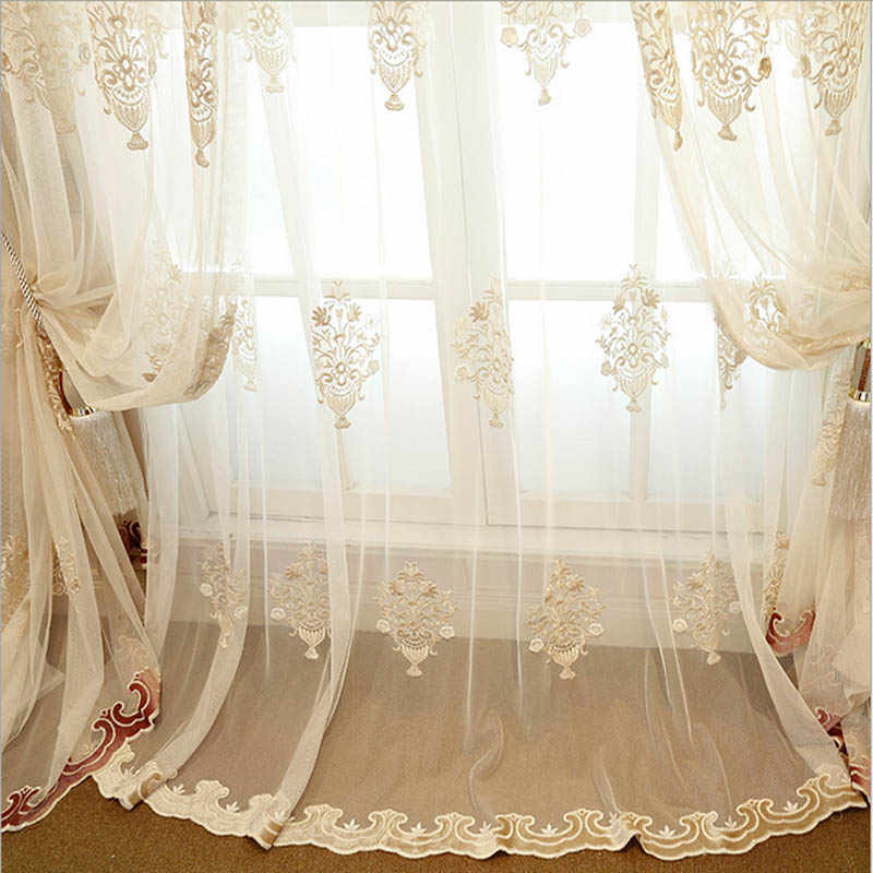Luxury European Embroidered Lace Sheer Tulle Curtains For Living Room Red Yellow Bottom Voile Curtains Drapes For Bedroom WP3683