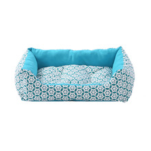 SewCrane Blue Flowers Pet Cuddle Cushion Dog Sleeping Bed Cat Sleeping Bed with Removable Pa