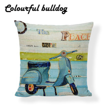 High Quality Retro Beetle Cushion Cover Shabby Chic Pillow Covers Game Chair 17.7inch Linen Home Decor Sofa Mini Bus Throw Case