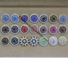 100pcs/lot  25mm Assorted Colors Sew on Czech crystal rhinestone button in Gold / Sliver For Browbands Garment Decoration