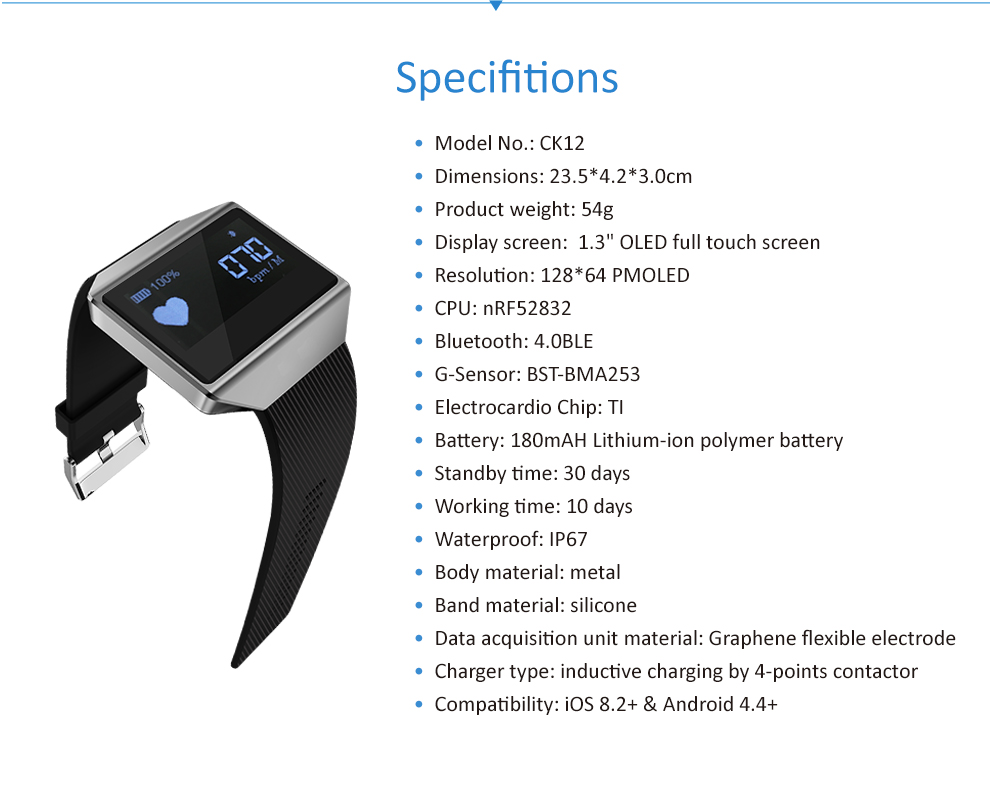 CK12 graphene smart watch ECG heart rate blood pressure sleep monitoring smart wristbands for android ios pedometer sport watch 24