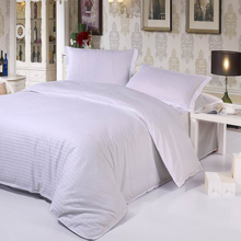hotel hospital duvet cover set solid color fitted sheets set 40S satin cotton bedding set Twin/full/Queen/King size(China)