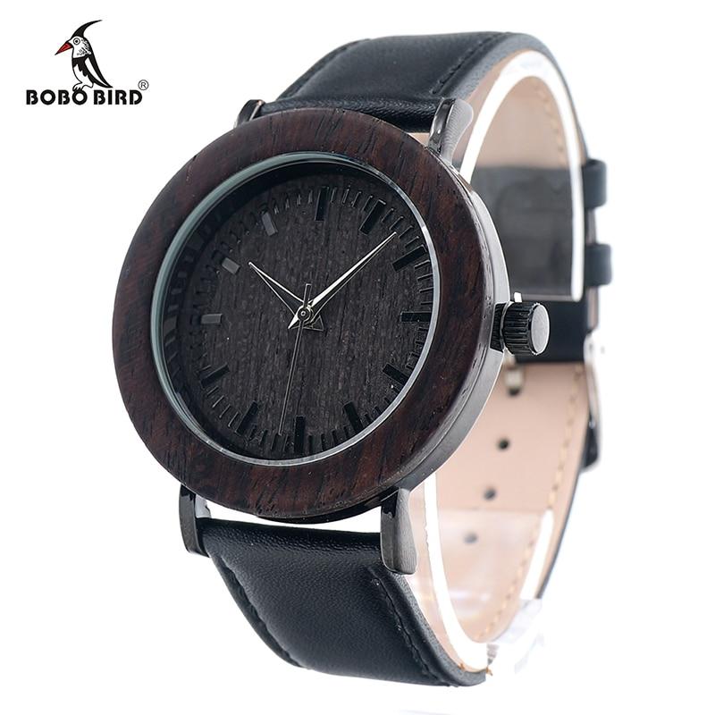 BOBO BIRD Mens Womens Ebony Wood Wristwatch WoodenBezel Stainless Steel Case Japan Movement 2035 Quartz Watch in Gift Box <br><br>Aliexpress