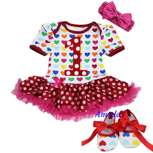 Baby Girl Colorful Hearts Red Polka Dots Number 1 Bodysuit Tutu Pettiskirt Crib Shoes Bow 0-18M(Hong Kong)