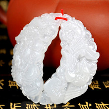 Natural White Afghanistan stone Pendant Chinese Hand-Carved Dragon Phoenix Pendant Necklace Fashion Lover's Jades Jewelry