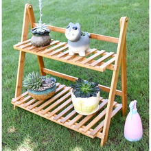 Creative 2 Tire Flower Pot Racks Home Garden Decor Flower Rack Wood Storage Holder Plant Pot Display Shelf Floor Planter Stand(China)