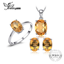 JewelryPalace 4.2 ct Natural Citrine Ring Earrings Pendant Necklace Jewelry Sets S925 Sterling Silver Jewelry for Women Jewelry