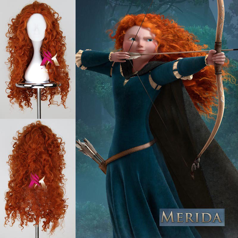 75cm/300g Long Curly Brave Merida Cosplay Hair Wigs For Women Lady With Free Cap Synthetic Wig Hair Heat Resistant Fiber <br><br>Aliexpress