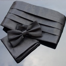 Male Tuxedo formal dress cummerbund+ bow tie+ hankie sets 5-color black/white/red/wine/silver-opp bag packing