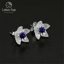 Lotus Fun Real 925 Sterling Silver Natural Lapis Original Handmade Fine Jewelry Fresh Flower Stud Earrings for Women Brincos(China)