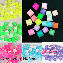 8mm 100pcs / lot Square Jelly Rhinestone Flatback Non Hotfix Glass Stones For DIY Ornament Garment Bags Y3558(China)