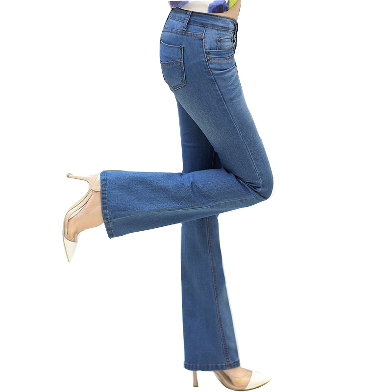 2017 New Women Flare Jeans Fashion Slim Elastic Fit Denim Female Pencil Stretchy Skinny Pants Bell Bottom Jeans TrousersОдежда и ак�е��уары<br><br><br>Aliexpress