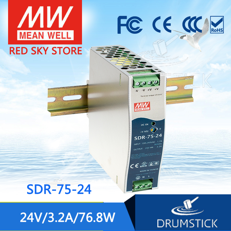 (12.12)MEAN WELL SDR-75-24 24V 3.2A meanwell SDR-75 24V 76.8W Single Output Industrial DIN RAIL with PFC Function<br>