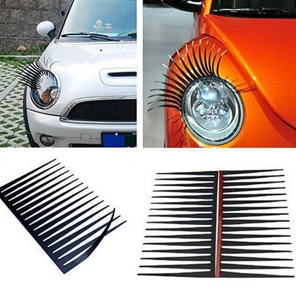 1pair Creative Black Eyelashes Car Stickers And Decals Headlight For