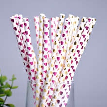 New 25pcs Paper Drinking Straws Red Love Heart Drinking Straw Kids Birthday Wedding Christmas Baby Shower Party Decor Supplies(China)