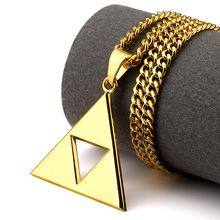 NYUK Hip Hop Fashion Jewelry The Legend of Zelda Hollow Triangle Necklace Alloy Charm Pendant Men Women With Beautiful Gift Box