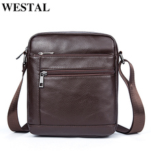 WESTAL Genuine Leather Men Bag Male Messenger Bag Men Leather Shoulder Bags Small Ipad Holder Flap New Men's Crossbody Bags Man(China)