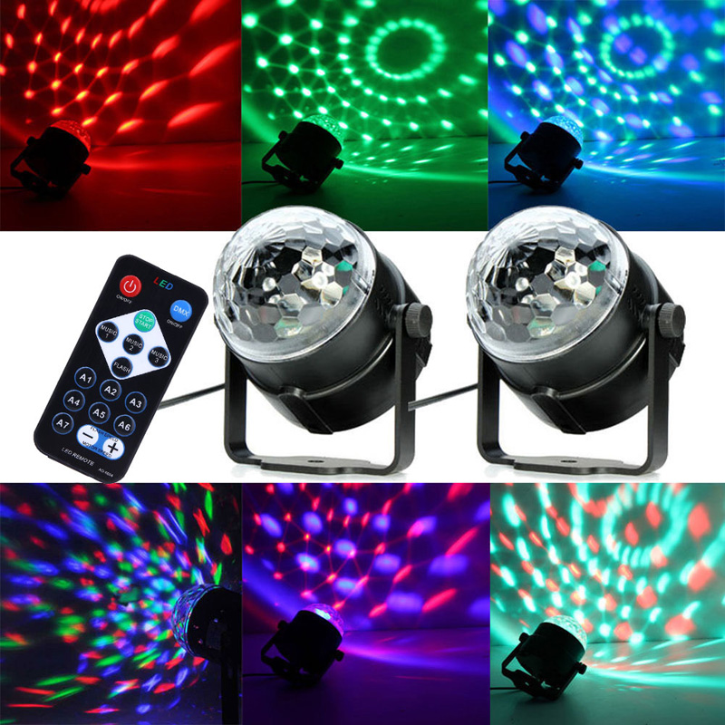 Remote Control Stage Light LED RGB DJ Disco Stage Lighting Ball Crystal Effect Pattern Lighting us plug  FEN#<br><br>Aliexpress