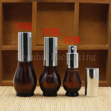 10/20/30ML Brown Glass Dropper Bottle, Empty Cosmetic Container,Single Gourd Oil Bottles, Toner/Perfume Packaging Bottle