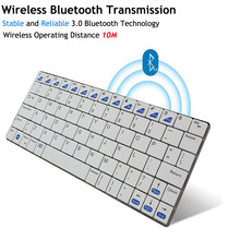 Ultra-slim Wireless Keyboard Bluetooth 3.0 Gaming Keybaord Board for Apple iPad/iPhone Series/Mac Book/Samsung For Computer