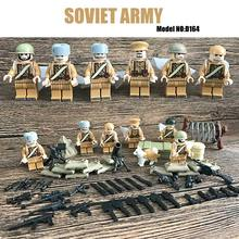 Mini WW2 Soviet Army Figure Russian National Army The Battle of Moscow Anti Fascist Building Block Educational Toy For Kids Gift