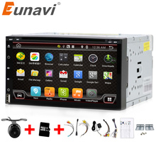 Eunavi Quad Core 2 din android 6.0 car dvd player universal 2din GPS Navigation audio stereo radio with WIFI+bluetooth+camera(China)