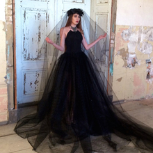 Gothic Black Wedding Dresses 2017  Backless Sexy Halter Corset Puffy Tulle Court Train Wedding Bridal Gown 2017 Vestido De Noiva