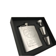bpa free 7oz whisky Imprint flagon cccp Stainless steel alcohol hip flask SET with gift box