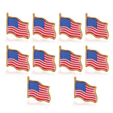 10PCS American Flag Lapel Pin United States USA Hat Tie Tack Badge Pin High Quality Hot Sales Custom Design Metal Engrave Pins(China)
