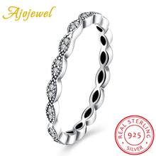Ajojewel Delicate AAA Cubic Zircon Thin Silver Ring 925 Sterling Women Finger Ring Ladies Jewelry(China)