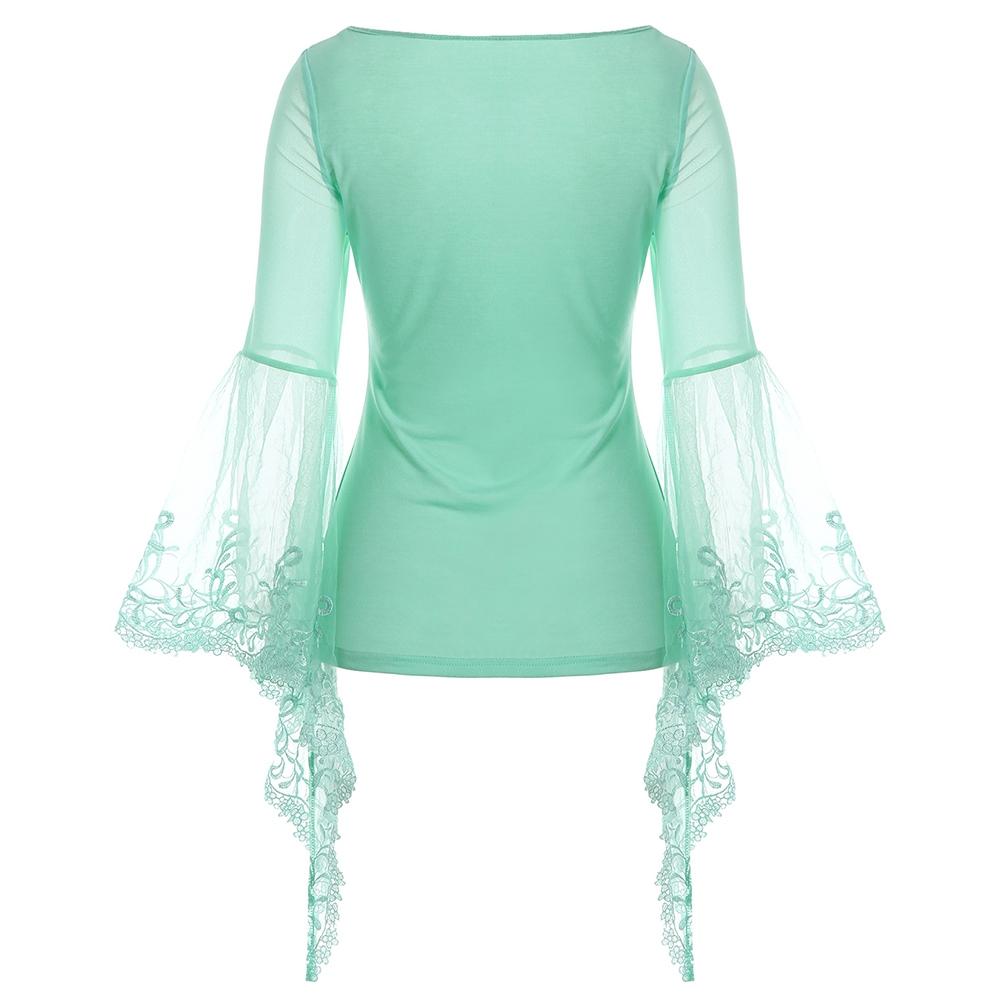 VESTLINDA Lace Flare Sleeve Sheer Panel Blusa Top Women Blouse Shirt Blusas Mujer 2017 Plus Size Women Clothing Summer Blouses 2