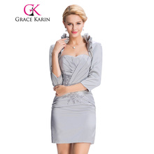 Grace Karin 2017 New Arrival Evening Dresses with Jacket Satin Sheath Elegant Grey Mother of the Bride Dress Formal Evening Gown