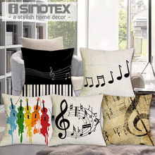 Music Series Note Printed Cotton Linen Decorative Cushion Cover Pillow Case Car Seat 43*43cm Pillowcase Coussin Decoration(China)
