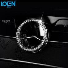 1PCS Car Styling Clock Frame Decorative Ring Silver Zinc Alloy Rhinestone  Round Square Cars Decals Sticker For Mercedes Benz 2b34ccbd0f56
