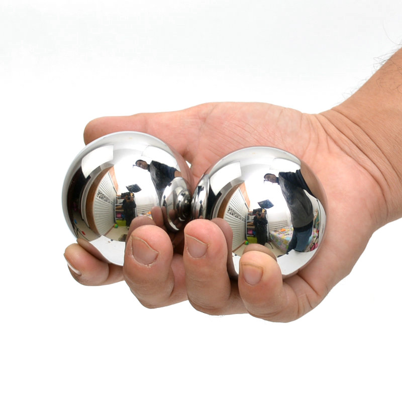 1 Pair  ( 2pcs ) Solid Stainless Steel 50mm Hand And Wrist Strengthening Baoding Balls<br>