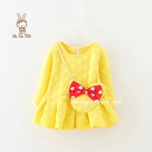 Factory Price, Two pieces Dress+bag 1-4Y Long Sleeve Girl dress baby Girls Clothes Mickey bag Kids Dress baby Girl clothes