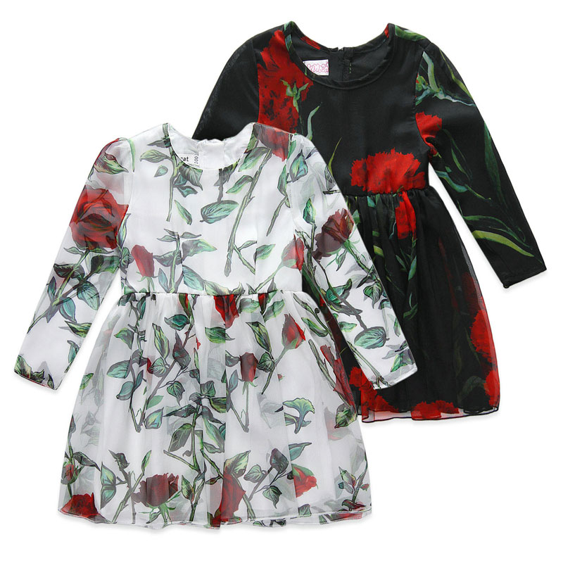 2016 European style girls New 2-8T spring autumn kids clothing girls fashion flower pattern long sleeve dresses for girls<br>