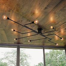Vintage Pendant Lights Lamps Multiple Rod Wrought Iron Ceiling Lamp E27 Bulb Living Room Lamparas Home Lighting Fixtures - KUGE Store store