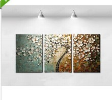 Yearning for spring-Floral Thick Palette knife Oil Painting Wall Art-Modern Canvas Decor picture wedding bedroom decor trees 3pc(China)
