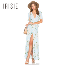 IRISIE Apparel Sexy Deep V-Neck Floral Print Maxi Dress Women Clothing Split Ruffles Lace Up Vestido Female Boho Summer Dress
