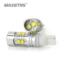 2x T10 194 W5W CREE Chip Led White/Yellow 25W 50W With Len Projector Aluminum Case Bulbs DRL Car Interior Reverse Source Light(China)