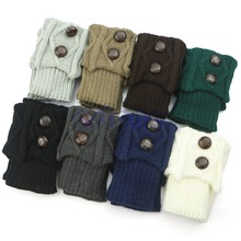 Women Hot Winter Crochet Knit Leg Warmers Socks Button Boot Socks Toppers Cuffs