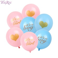 FENGRISE Baby Shower Decorations 10pcs 12inch Latex Balloons Blue Pink Its A Boy Girl Balloon Christening Baptism Party Supplies