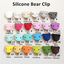 50pcs Silicone Bear Clip Baby Dummy Teether Pacifier Chain Clips DIY Craft Baby Soother Nursing Accessories Holder Clips(China)