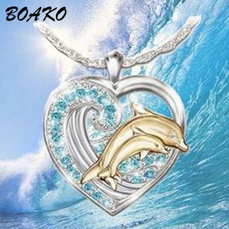 Colgante de Diamantes de Imitación de Cristal de Plata Doble Delfín collar Joyería Damas Regalos