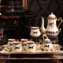 Luxurious In-gold Bone China Tea Set British Style Famous Brand Porcelain Coffee Set With Tea Tray Wedding Gift